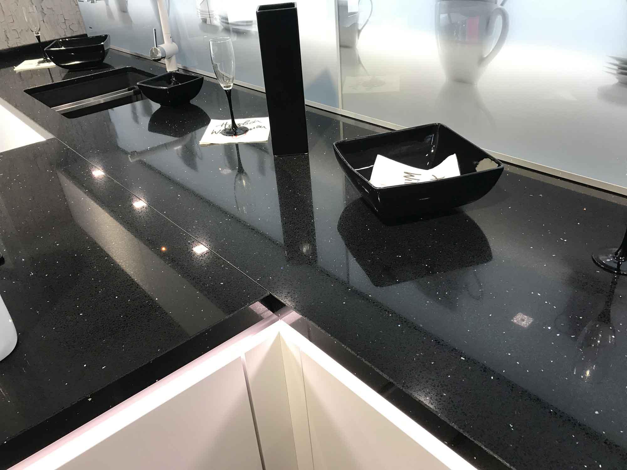 Glitzer quarz black star arbeitsplatte arbeitsplatten k chenarbeitsplatten - Quarzkomposit arbeitsplatte ...